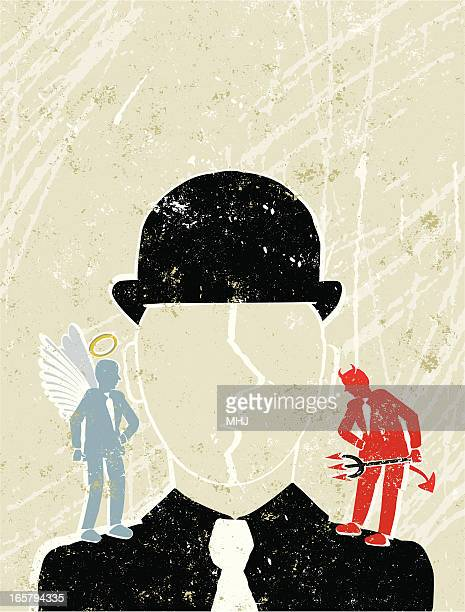 businessman with angel and devil on his shoulders - purity stock illustrations