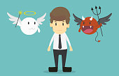 Businessman with angel and devil on his shoulders.Cartoon of business success is the concept of the man characters business, the mood of people, can be used as a background, banner.vector illustration