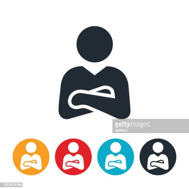 businessman with arms folded icon - arms crossed stock illustrations