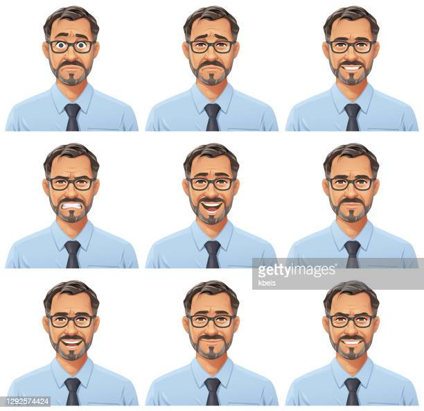 businessman with beard and glasses portrait- emotions - headshot stock illustrations