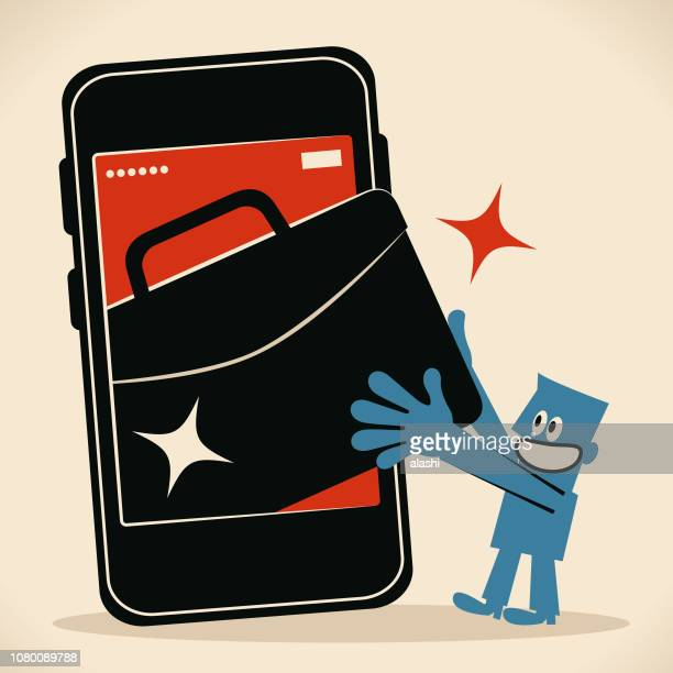 businessman with big smart phone and briefcase (job, outsourcing), digital nomad - job fair stock illustrations