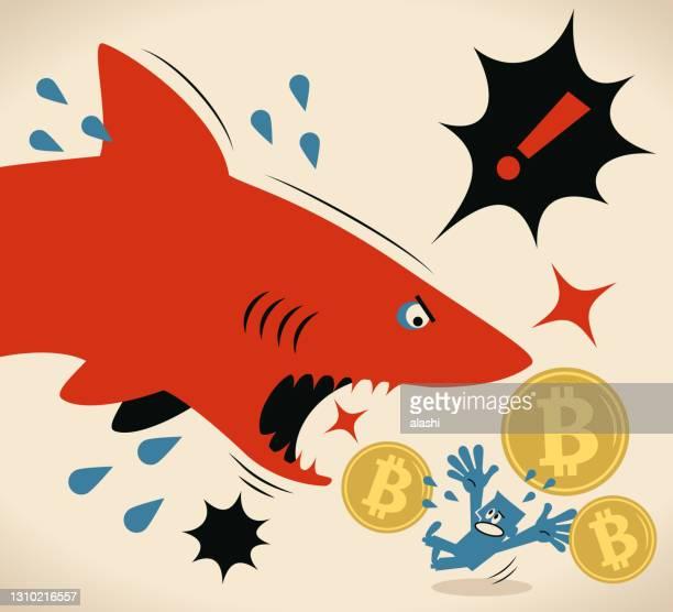 ビットコイン暗号通貨を持つビジネスマンはサメに襲われています - 動物の行動点のイラスト素材/クリップアート素材/マンガ素材/アイコン素材