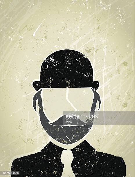 Businessman With Bowler Hat, Moustache and Beard