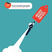 Businessman with bulb rocket good ideas increase your sales