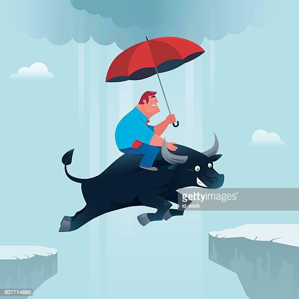 businessman with bull - bull market stock illustrations, clip art, cartoons, & icons