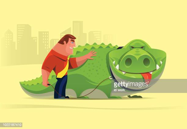 businessman with crocodile - tame stock illustrations