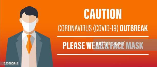 geschäftsmann mit gesichtsmaske banner für die verringerung des risikos des fangs coronavirus covid-19 ausbruch - mundschutz stock-grafiken, -clipart, -cartoons und -symbole