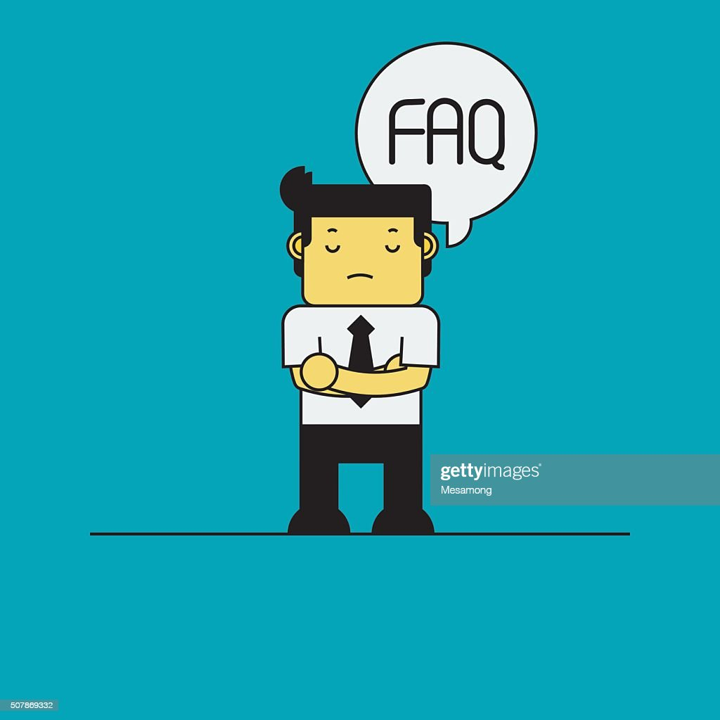 Businessman with FAQ in thinking bubble.