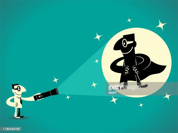 businessman with flashlight and superhero shadow - flashlight stock illustrations