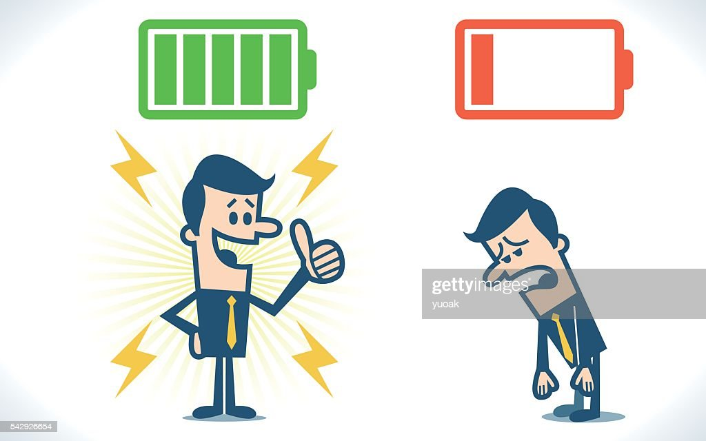 Businessman with full and low battery : stock illustration