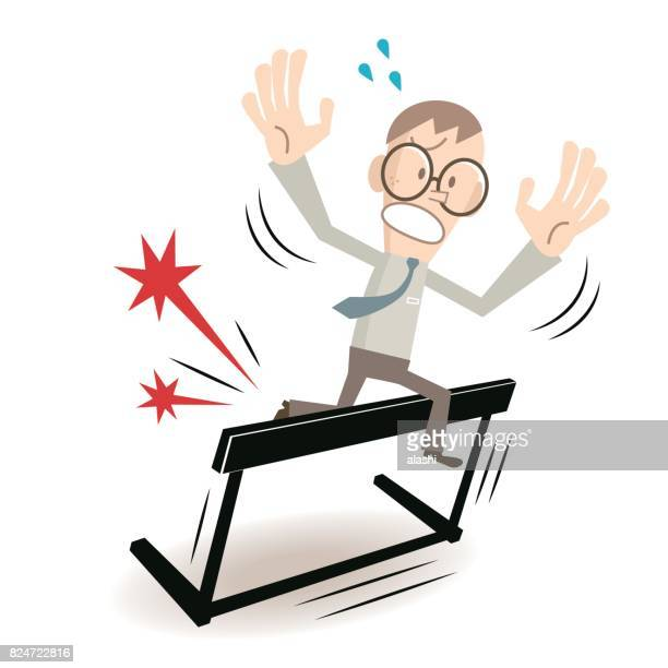 businessman (man, hurdler, athlete, nerd) with glasses tripping over on hurdle (failure) - hurdle stock illustrations
