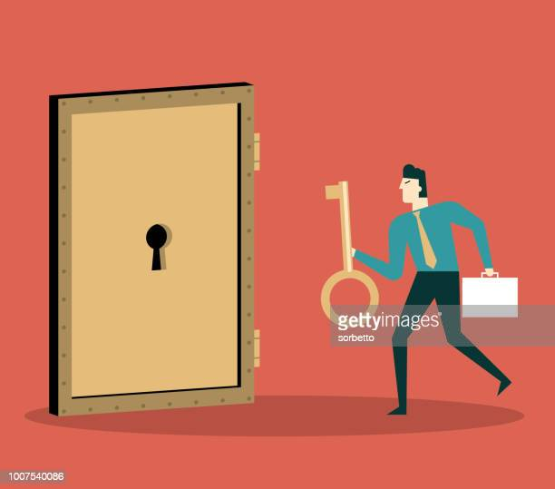businessman with golden key try to unlock the door - keyhole stock illustrations, clip art, cartoons, & icons