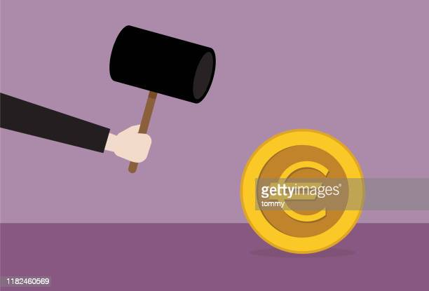 businessman with hammer smashing euro coin - mallet hand tool stock illustrations