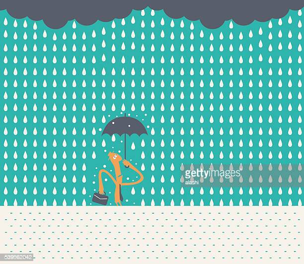 businessman with hat and briefcase, holding umbrella, standing in rain - drowning stock illustrations, clip art, cartoons, & icons