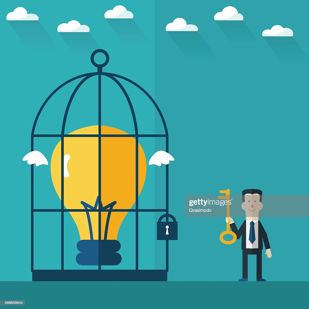 Businessman with key and idea in cage. Idea concept design