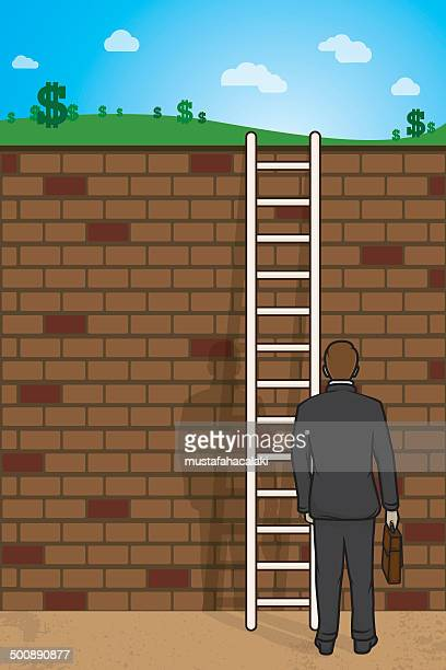 Businessman with ladder and wall