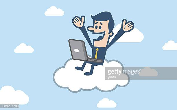 Businessman with laptop sitting on cloud