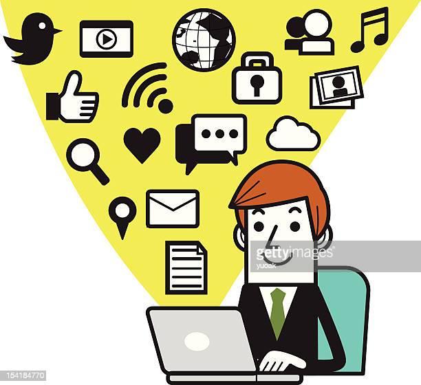 ilustrações, clipart, desenhos animados e ícones de empresário com computador portátil - submita busca
