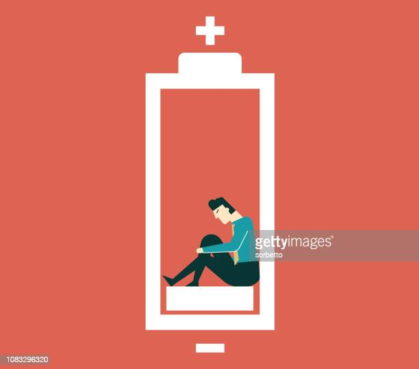 businessman with low battery - tired stock illustrations