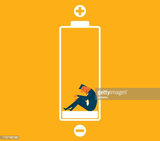businessman with low battery - exhaustion stock illustrations
