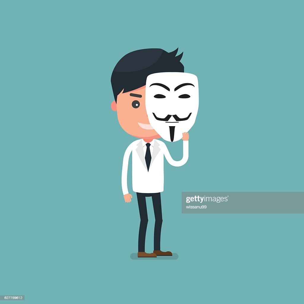 Businessman with mask. flat cartoon. Vector illustration
