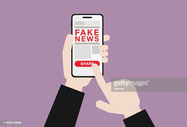 businessman with mobile phone shares fake news - reading stock illustrations