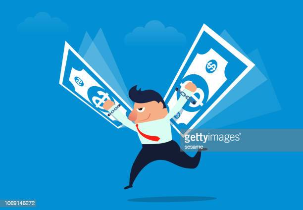 Businessman with money as wings