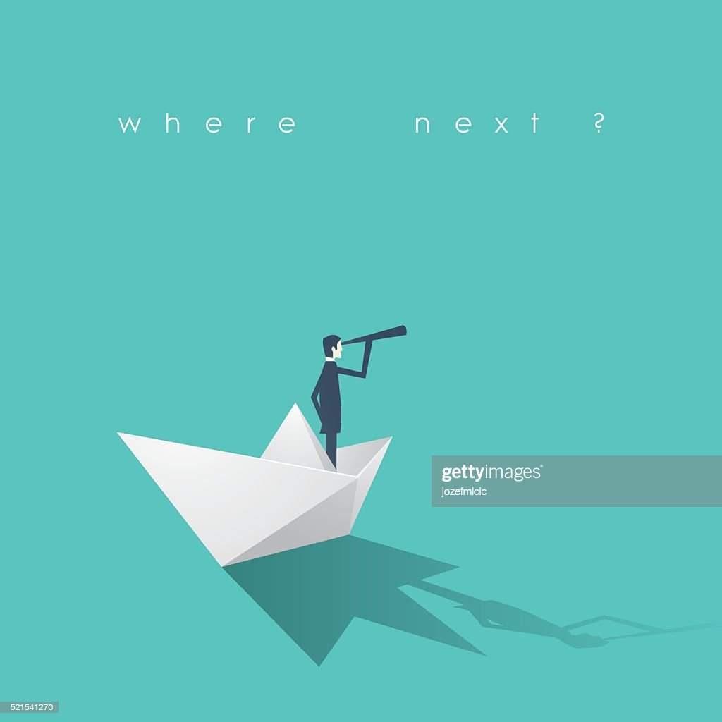 Businessman with monocular on paper boat as a symbol of