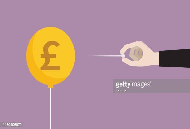 illustrations, cliparts, dessins animés et icônes de l'homme d'affaires avec l'aiguille perce le ballon de pièce de monnaie de livre du r-u - brexit