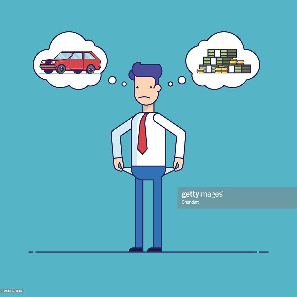 Businessman with no money, bankrupt. Man dreams of a car