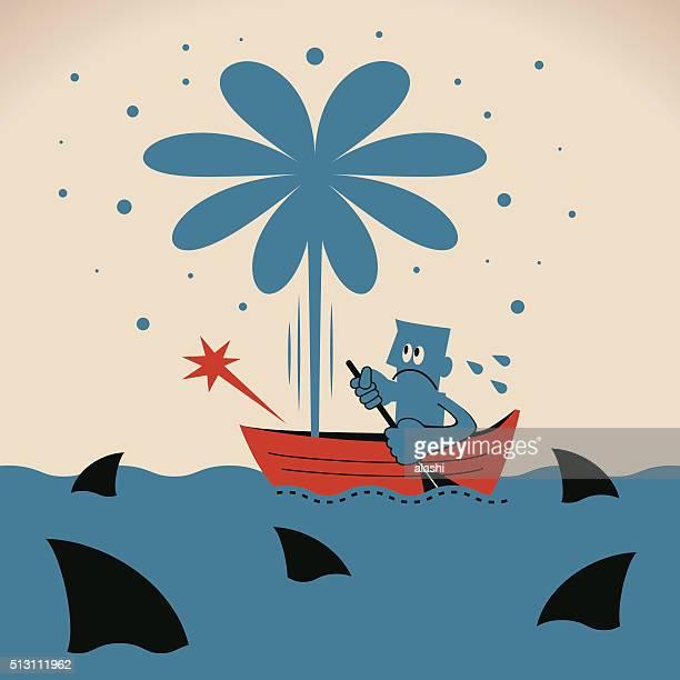 Empresário com Remo em fuga de barco, rodeados de Tubarão