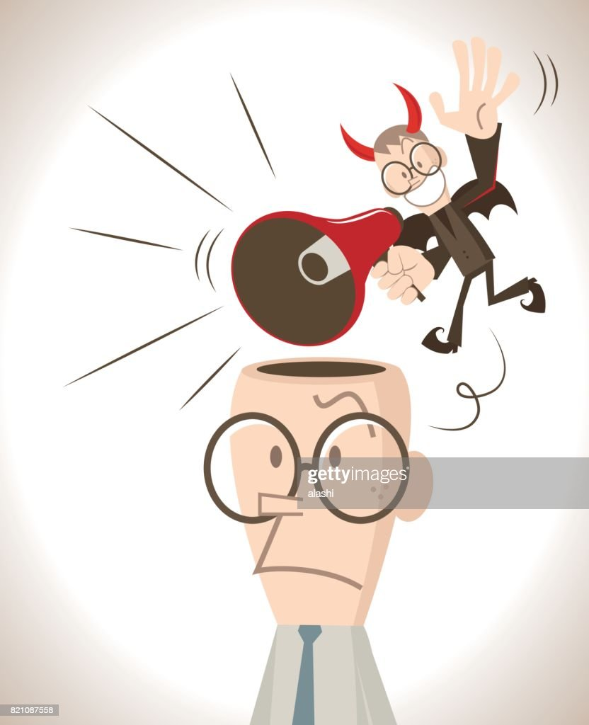 Businessman with open head, a little red evil devil talking (shouting, laughing) through a megaphone and flying around