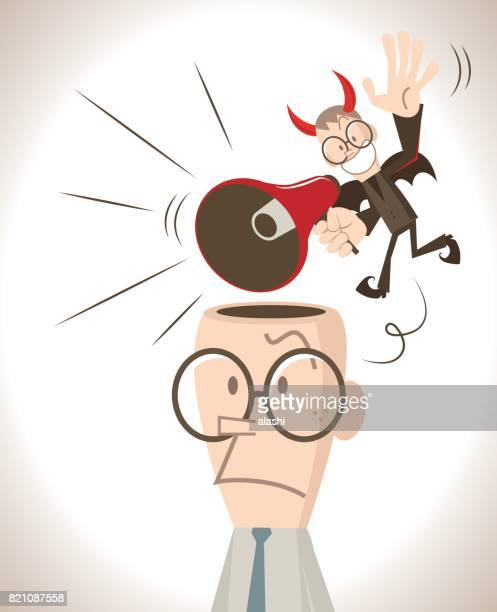 businessman with open head, a little red evil devil talking (shouting, laughing) through a megaphone and flying around - sneering stock illustrations, clip art, cartoons, & icons