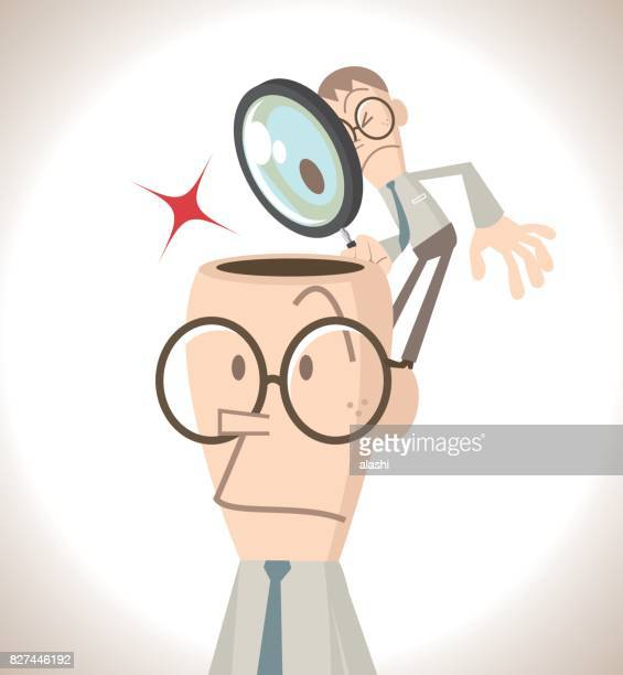 Businessman with open head, a little small business man holding a magnifier (magnifying glass) standing on the head. Self-Awareness or Thought (Mind) reading concept