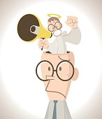 Businessman with open head, an little angry angel shouting scolding through a megaphone standing in the head (sermonize) with fist raised