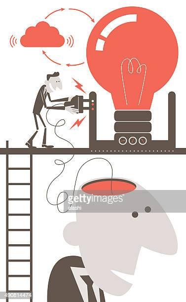 Businessman with open head and electrical plug, charging idea concept
