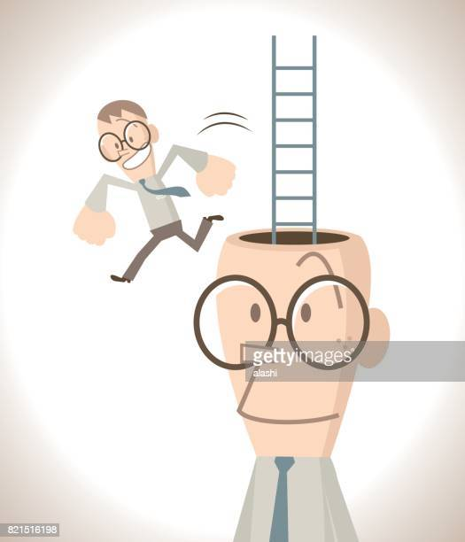 Businessman with open head and ladder, a little business man escaping (leaving) from the head