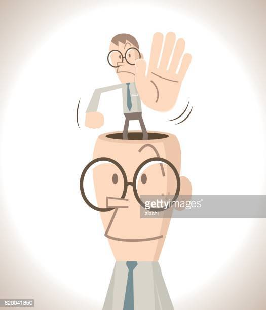 Businessman with open head, business man( teacher ) showing stop gesturing!( Hold On! No!) standing into the head