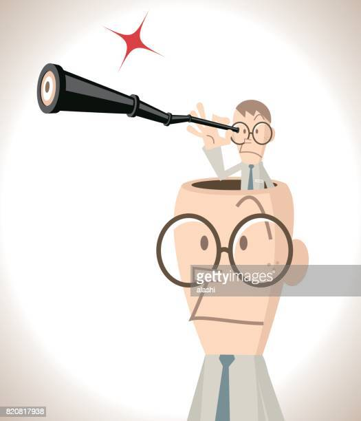 Businessman with open head, small business man looking through hand-held telescope and standing into the head