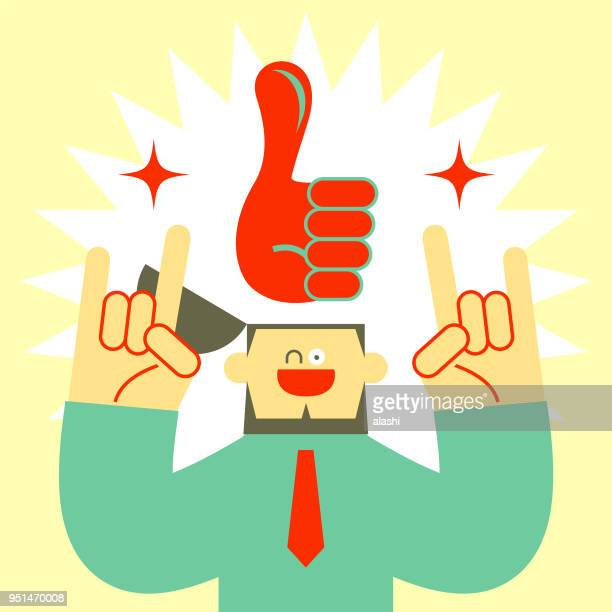businessman with opened head and big thumbs up hand sign, gesturing rock and roll - attitude stock illustrations, clip art, cartoons, & icons