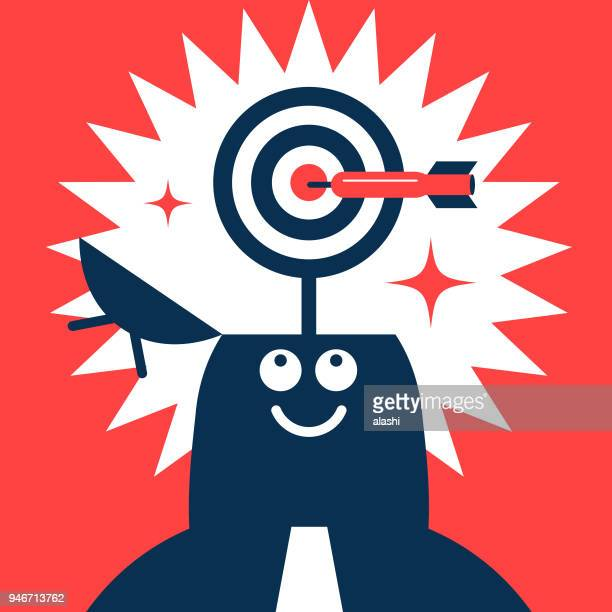 Businessman with opened head and dart board (target), a dart hitting the bull's-eye