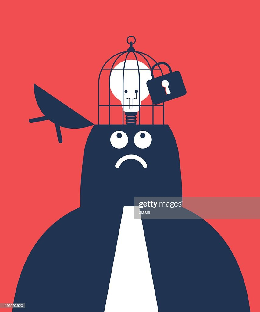 Businessman with opened head and idea light bulb in birdcage