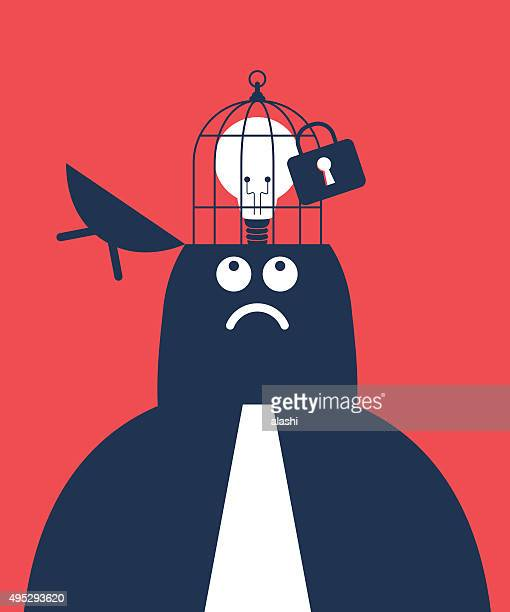businessman with opened head and idea light bulb in birdcage - 2015 stock illustrations, clip art, cartoons, & icons