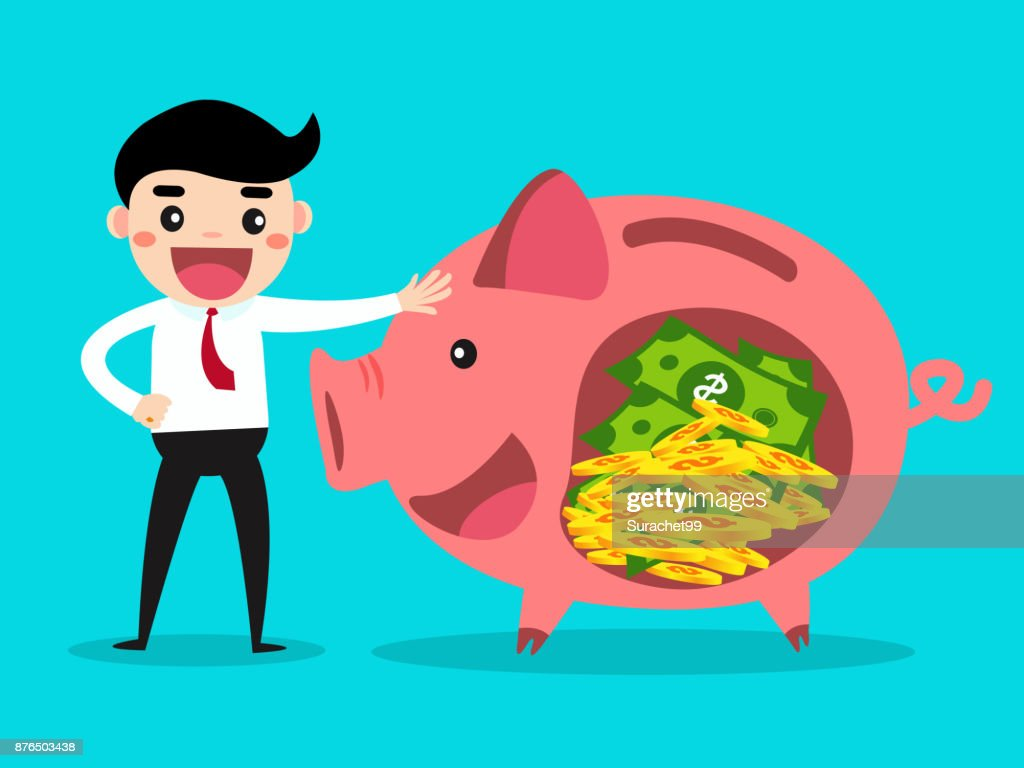 Businessman with piggy bank. Money savings concept.