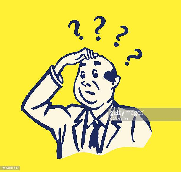 businessman with questions and hand on head - confusion stock illustrations, clip art, cartoons, & icons