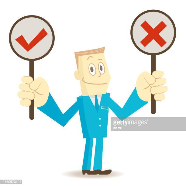 businessman (elite) with right and wrong sign (true-false question; yes-no question) - wrong way stock illustrations, clip art, cartoons, & icons