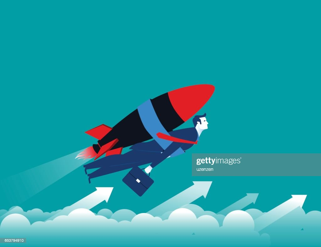Businessman with rocket and flying up. Concept business illustration. Vector flat