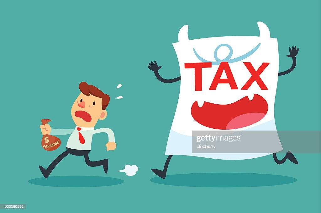businessman with small income running away from tax paper monste