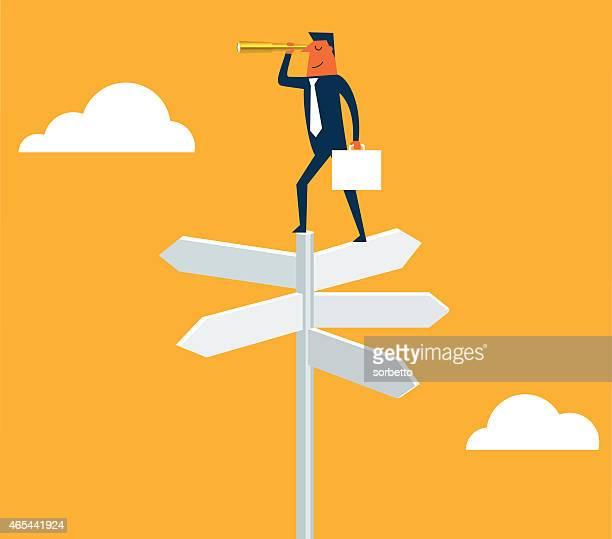 ilustrações, clipart, desenhos animados e ícones de empresário com uma luneta em sinal de cruzamento - encruzilhada
