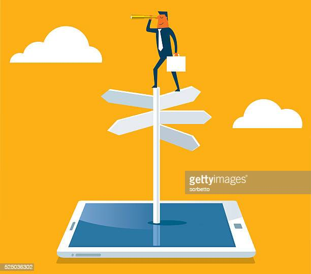 businessman with spyglass on a crossroad sign - looking at view stock illustrations